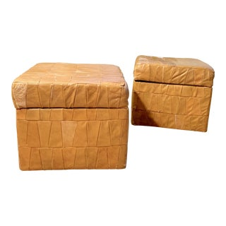 1960s Vintage Patchwork Leather De Sede-Style Ottomans- A Pair For Sale