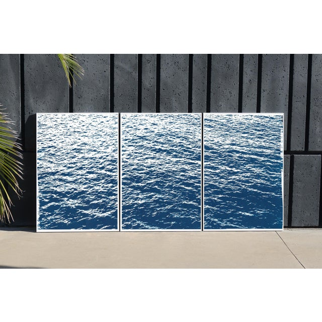 Blue Bright Seascape in Capri, Navy Cyanotype Triptych 100x210 Cm, Classic Blue Edition of 20. For Sale - Image 8 of 11
