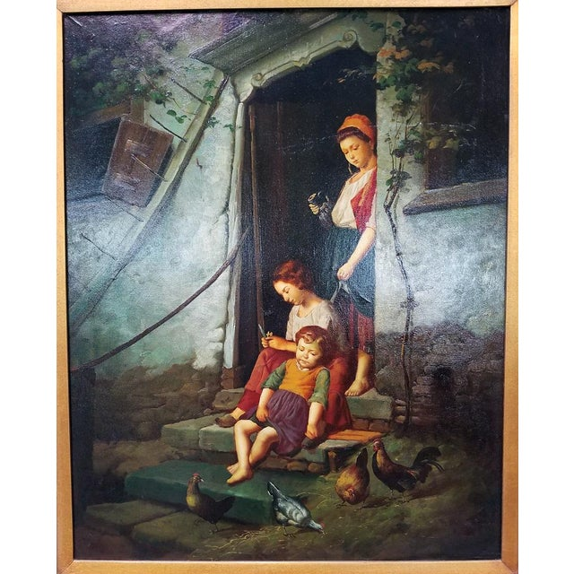 Old Master Style Oil on Canvas of Mother, Children and Poultry For Sale - Image 9 of 10