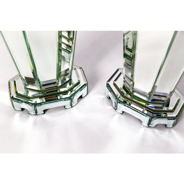 Modern Beveled Mirror & Chrome Lamps W/ Deco Finials - a Pair For Sale - Image 11 of 13
