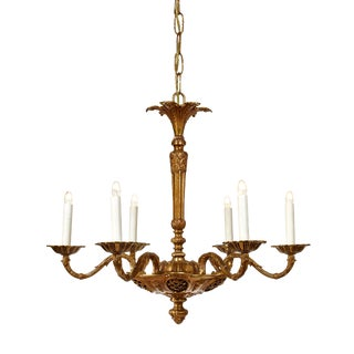 Contemporary Neo Classical Six Arm Brass Chandelier For Sale