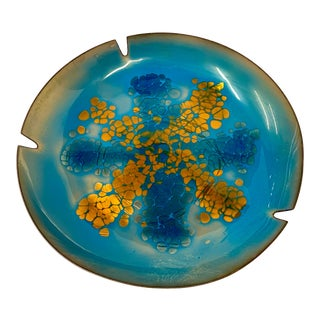 Mid 20th Century Signed Blue and Copper Enameled Bronze Catchall / Roachtray For Sale