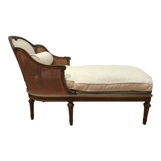Louis XVI Style European Mahogany Carved Blind Cane Chaise For Sale