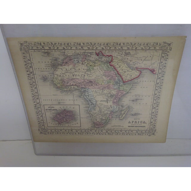 Here is a circa 1860 vintage original map of Africa. S. Augusta Mitchell - Clerks Office - Eastern District Of...