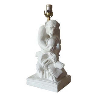 "Vintage Plaster Sitting Monkey Lamp, ""The Thinker"" - Final Markdown For Sale"