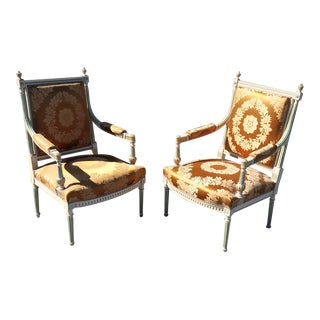 Pair of Signed Maison Jansen Paint Decorated Silk Damask Fauteuils Armchairs For Sale