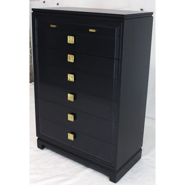 Black Lacquer Tall Decorative Brass Hardware Pulls High Chest Dresser For Sale - Image 10 of 13