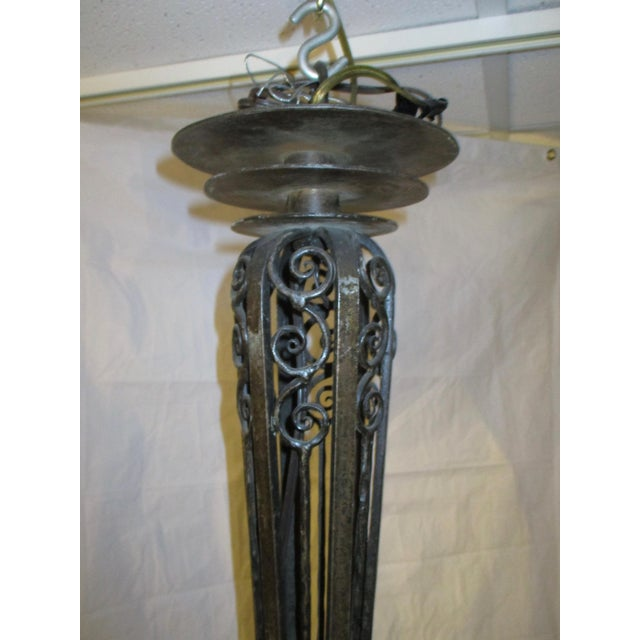 Metal Art Modern French Wrought Iron 3-Light Chandelier For Sale - Image 7 of 9