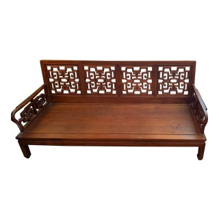 Antique Wooden Oriental Bench For Sale