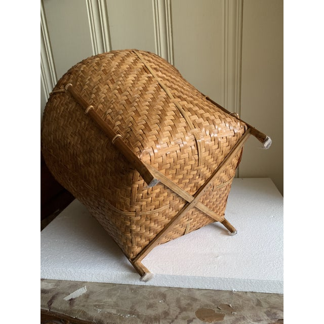 Tan Vintage Balinese Decor Storage Basket For Sale - Image 8 of 12