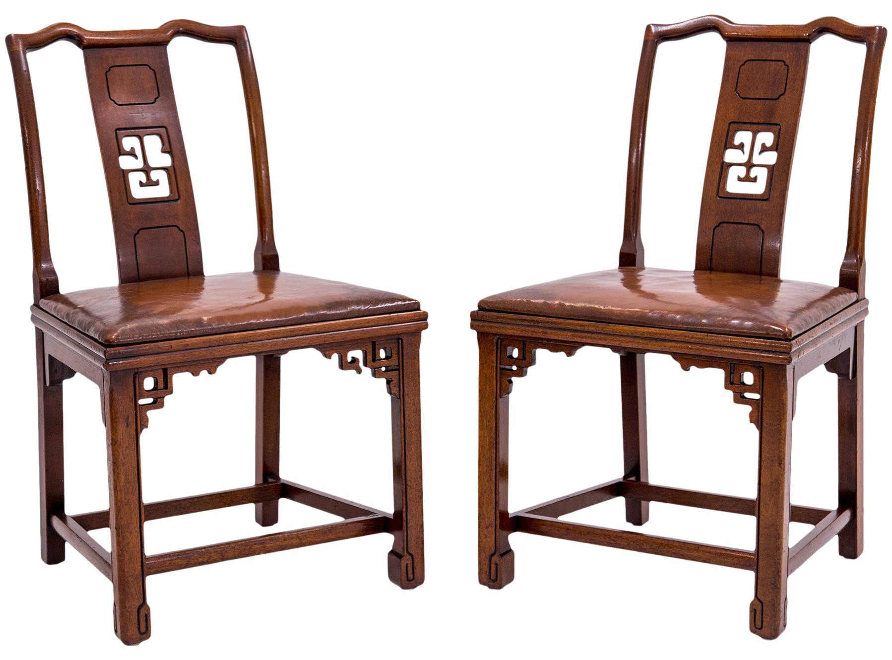 Beautiful Ming Style Side Chairs With Leather Seats   A Pair
