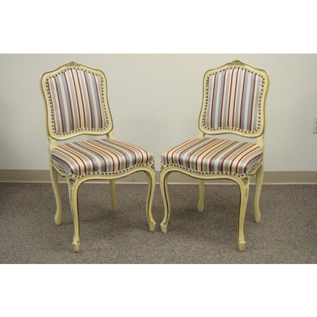 Set Of 6 Vtg French Provincial Louis XV Style Cream Painted Dining Room Chairs For Sale