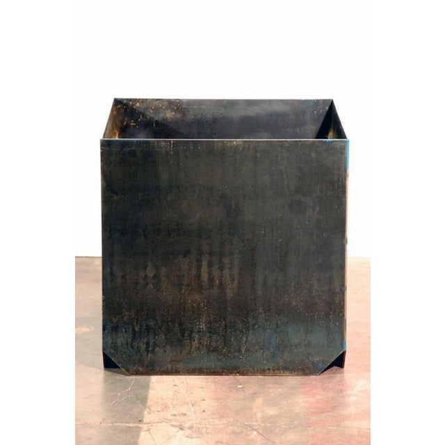"""Modern Contemporary Large """"Cubiste"""" Patinated Steel Plate Planter For Sale - Image 3 of 7"""