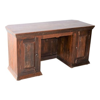 Rustic Salvaged Railroad Tie Wood Desk For Sale