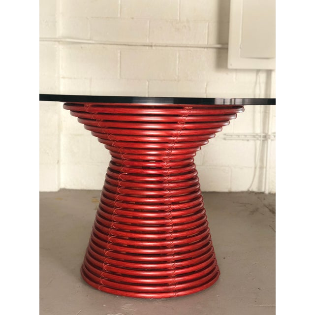 2010s Contemporary McGuire Red Round Table For Sale - Image 5 of 8