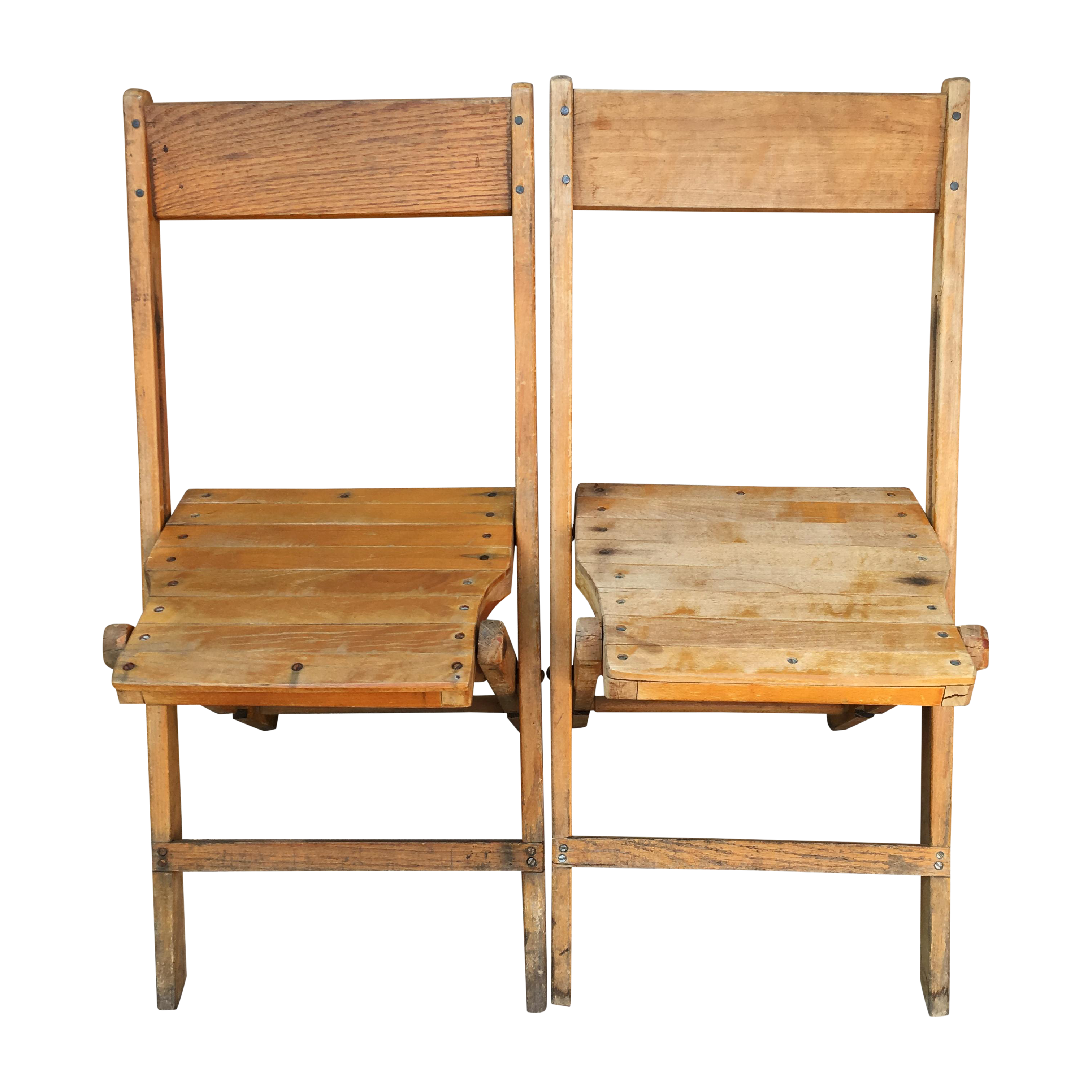 Attirant Snyder Rustic Wooden Folding Chairs   A Pair