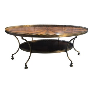 Baker Furniture Marquetry Brass Ormolu Coffee Table For Sale