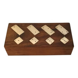 Wood & Brass Domino Box Including Dominos For Sale