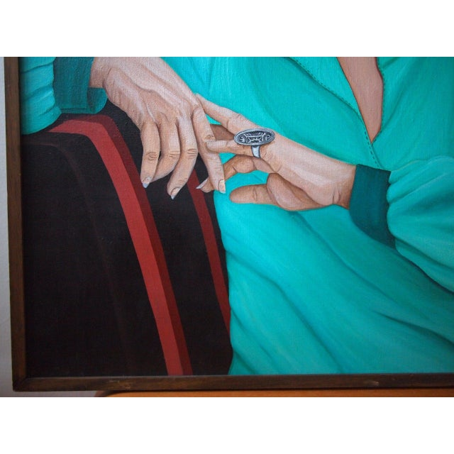 Postmodern Original 1984 Arona Reiner Mid-Century Modern Postmodern Female Portrait Oil on Canvas Painting For Sale - Image 3 of 6