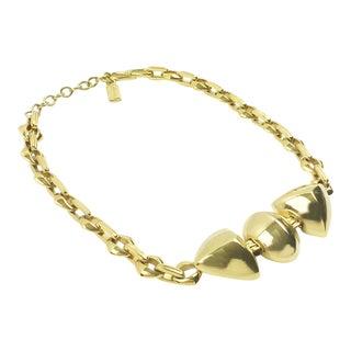 Yves Saint Laurent Geometric Gilt Metal Link Choker Necklace For Sale