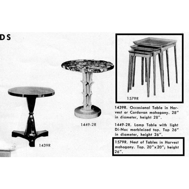 1940s Widdicomb Set of Nesting Mahogany Tables For Sale - Image 5 of 6