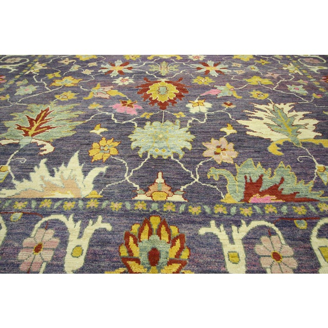 "Early 21st Century Colorful Contemporary Turkish Oushak Rug - 11'4"" X 15'6"" For Sale - Image 5 of 10"