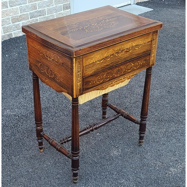 English Antique English Regency Inlaid Rosewood 19th Century Sewing Work Table C1890 For Sale - Image 3 of 13