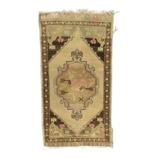 Vintage Mid-Century Oushak Yastik Rug - 1′9″ × 3′4″ For Sale