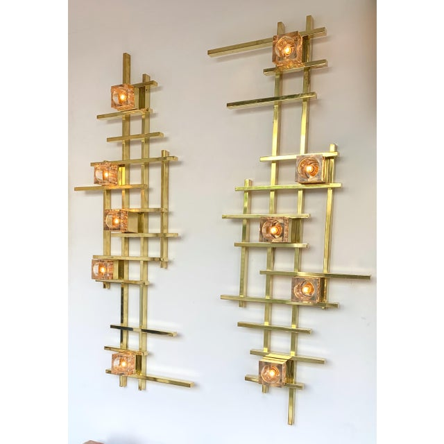 Contemporary Brass Murano Glass Cubic Sconces. Italy For Sale - Image 11 of 11