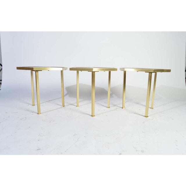 """Brass Rojo Alicante Marble and Brass Occasional Tables by William """"Billy"""" Haines - Set of 6 For Sale - Image 8 of 11"""