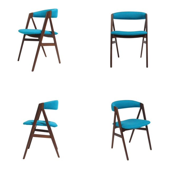 Mid Century A-Frame Danish Turquoise Wool Dining Chairs - Set of 4 For Sale
