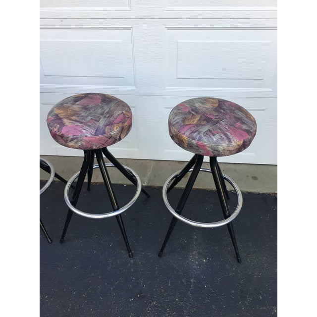 Fabulous set of four Mid Century bar stools with original Upholstery. No pitting to chrome, moderate wear. Years of...