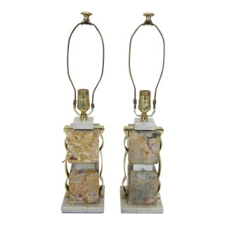 Marble and Brass Lamps - a Pair For Sale