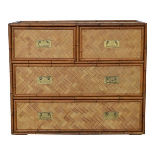 Mid-Century Faux Bamboo and Woven Rattan Dresser For Sale