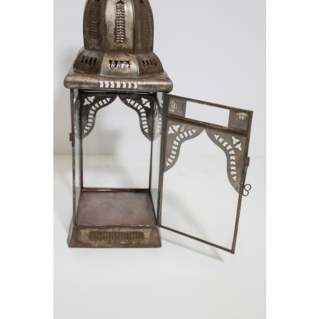 Islamic Moroccan Moorish Square Metal and Clear Glass Candle Lantern For Sale - Image 3 of 13