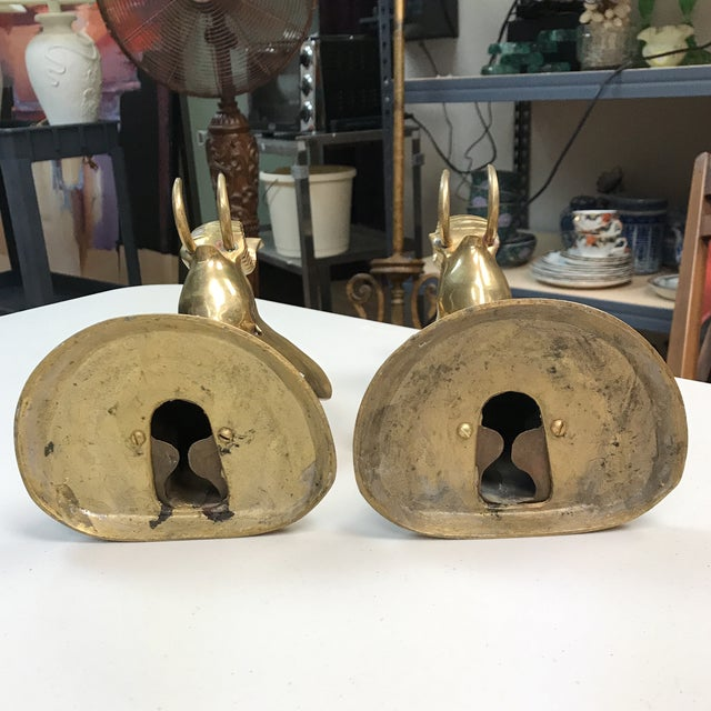 Brass Elephant Bookends - A Pair For Sale - Image 9 of 10