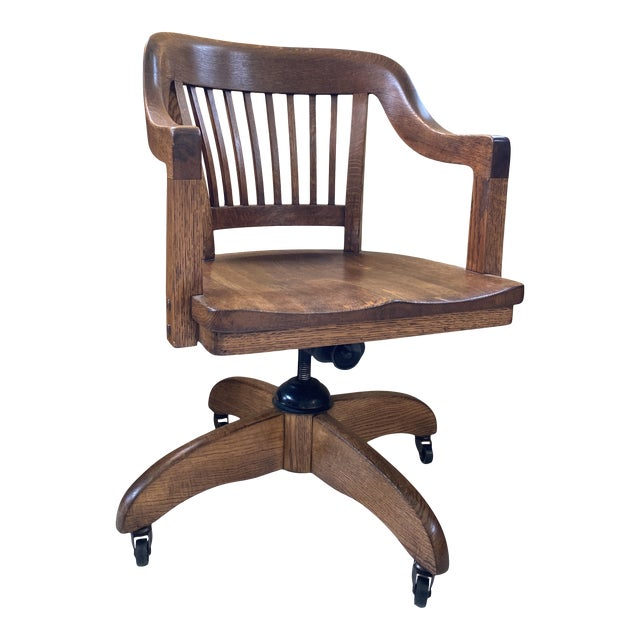 Classic Mid-Century Banker's Desk Chair For Sale