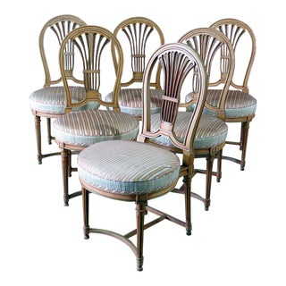 Set of 6 Louis XV Style Dining Side Chairs For Sale