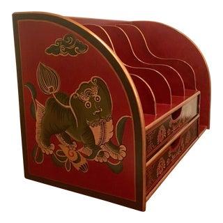 Chinoiserie Foo Dog Desktop Valet Letter Organizer Box For Sale