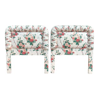 Vintage Floral Fabric Twin Headboards - a Pair For Sale