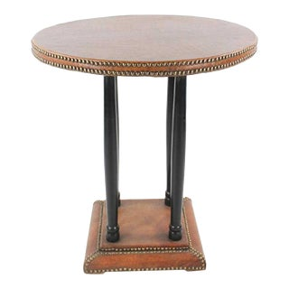 20th Century French Leather Round Side Table For Sale