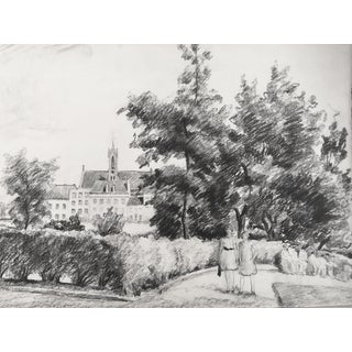 1930s Antique English Pencil Drawing For Sale