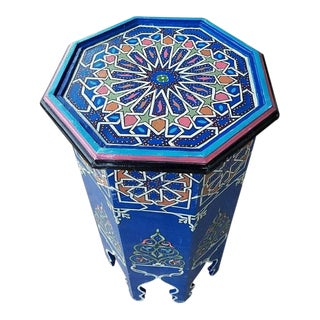 Blue Moroccan Octagonal Hand Painted Table