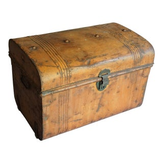 Antique English Metal Chest For Sale