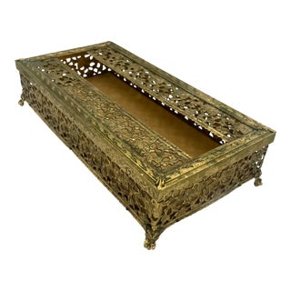 1930s Hollywood Regency Gold Filigree Glam Tissue Box For Sale