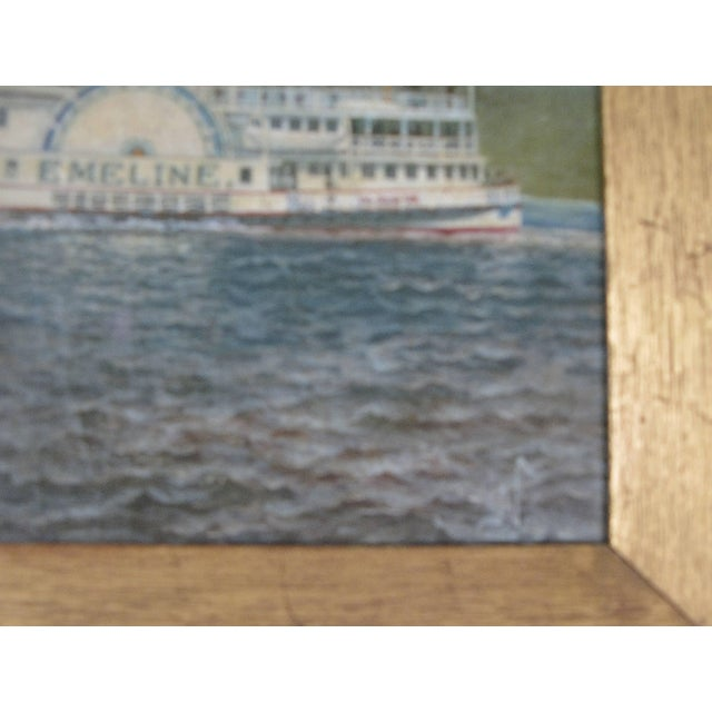 Oil on Canvas Paddle Steamer Painting by Albert Nemethy For Sale - Image 4 of 6