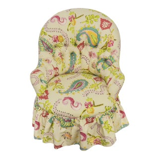 Vintage Tufted Paisley Vanity Chair