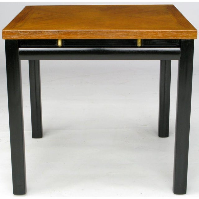 Pair Michael Taylor Bleached Mahogany & Black Lacquer End Tables - Image 2 of 6