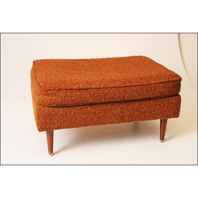 Mid-Century Modern Brown Upholstered Foot Stool - Image 3 of 11