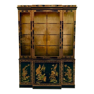 1960s Chinoiserie Lacquered China Cabinet by Drexel For Sale